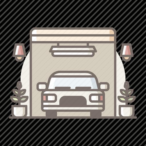 car, garage, home icon