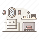 fireplace, living, room icon