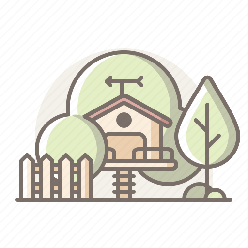 house, playground, tree icon