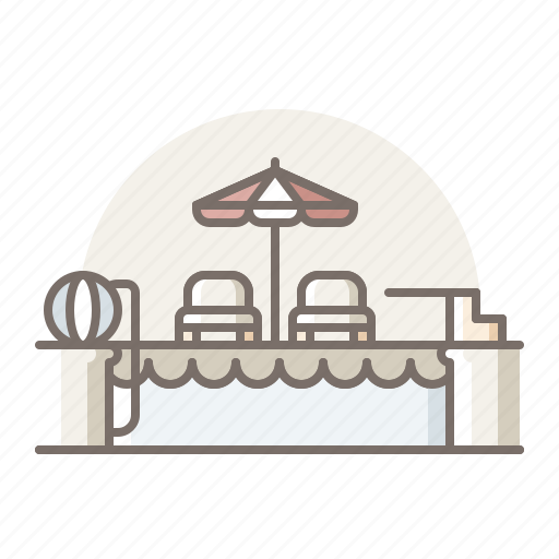 chair, pool, swimming, table icon