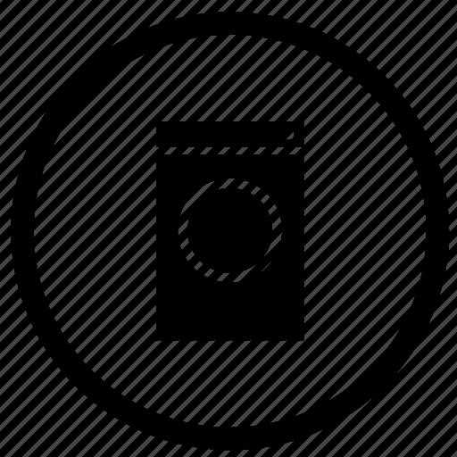 label, mashine, round, technics, washing icon