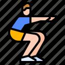 cardio, exercise, home, squad, workout icon