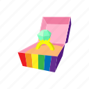 box, cartoon, color, lgbt, proposal, ring, wedding icon