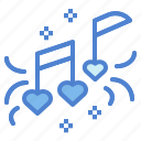 audio, hearts, music, song icon