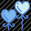 balloons, birthday, heart, love icon