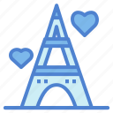 eiffel, france, heart, paris, tower