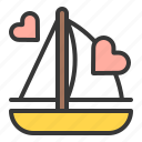 boat, couple, heart, honeymoon, wedding, wedding boat icon