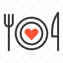 couple, dinner, heart, honeymoon, wedding, wedding dinner icon