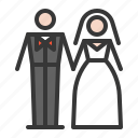 bride, couple, groom, heart, honeymoon, wedding icon