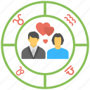 astrology, couple, love horoscope, relation compatibility, relationship horoscope icon