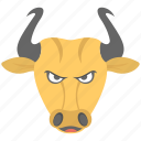 angry animal, bull, bull face, taurus, zodiac sign icon