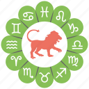 astrological cycle, astrology, astrology wheel, horoscope, leo icon