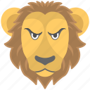 angry face, animal, leo, lion, zodiac sign icon