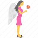 fairy, girl with wings, star symbol, virgo, zodiac sign icon