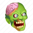 brain, crazy, dead, evil, monster, rotten, zombie icon