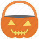 basket, halloween, pumpkin, treat, trick icon