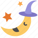 cartoon, halloween, moon, night, weather icon