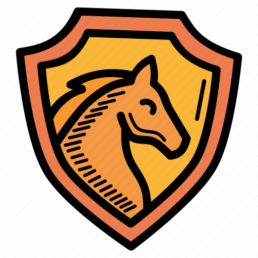 equestrian, horse, insignia, shield icon