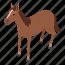 horse, isometric, logo, object, pony, running, stallion icon