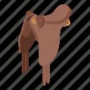 equipment, horse, isometric, leather, logo, object, saddle