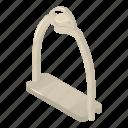 equipment, horse, isometric, leather, logo, object, stirrup