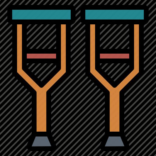 crutch, crutches, injury, medical icon