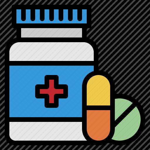 bottle, capsules, drugs, hospital, medicine, pills, tablet icon