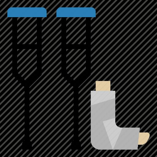 broken, crutches, handicap, injured, leg, medical, supplies icon