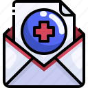 communications, email, history, mail, medical, message, report icon