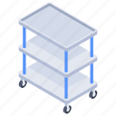 cart, food cart, hospital accessory, medical trolley, medicine cart, trolley icon