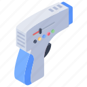 ear infrared, laser gun, medical gun, temperature meter, temperature thermometer icon