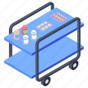 healthcare, medical trolley, medicine cart, nurse trolley, patient medicine icon