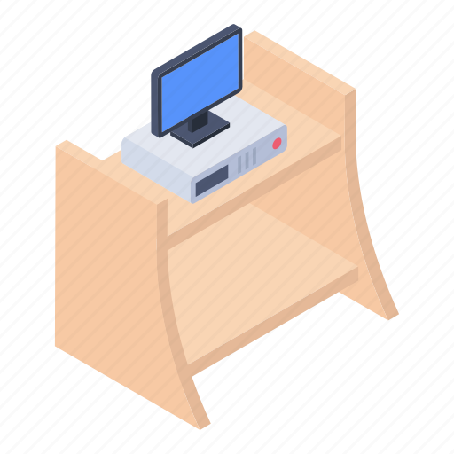 computer monitor, computer table, pc table, working desk, workplace icon