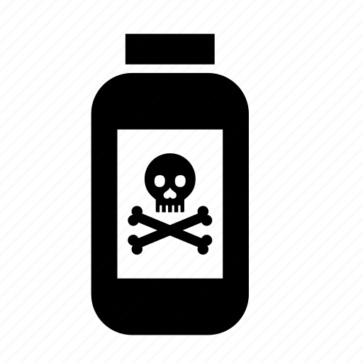 bottle, danger, equipment, head bone, hospital, medical, skull icon