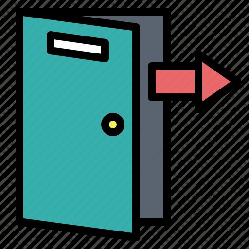arrow, door, exit, log, out icon