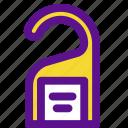 booking, clean, door, hanger, travel icon