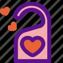 booking, door, hanger, love, travel icon