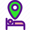 booking, location, sleep, travel icon