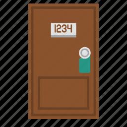 door, hotel door, room door, travel icon