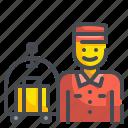 bellboy, employee, hotel, male, man, staff, waiter icon