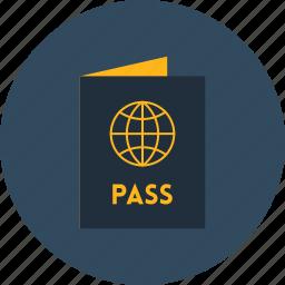 document, identification, identity, passport, technology, travel icon