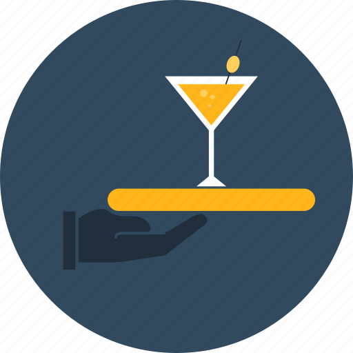 coctail, covered, hotel, room, service, tray icon
