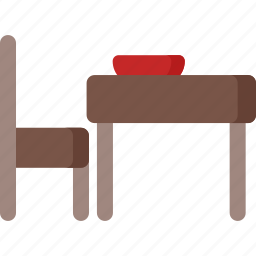 chair, food, kitchen, meal, restaurant, table icon
