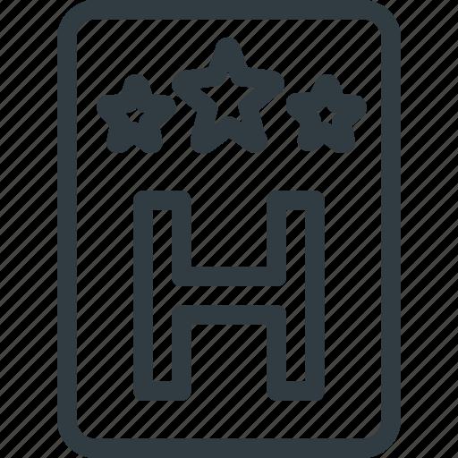 hotel, sign, stars, three icon