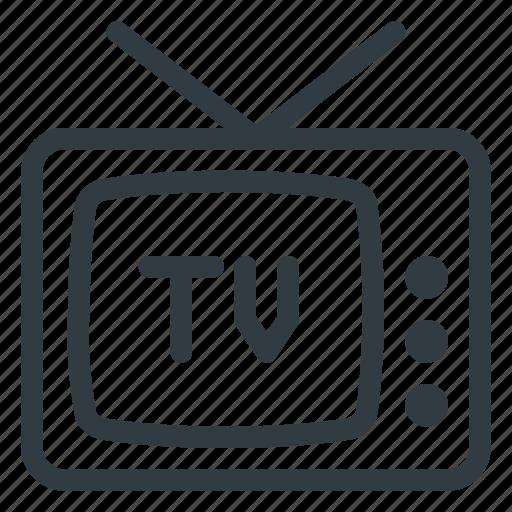 antena, retro, television, tv icon
