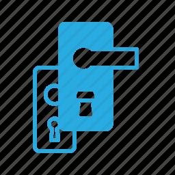 door, handle, hole, key, lock icon