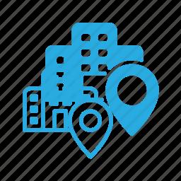 building, geolocation, hotel, location, pin icon