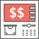atm, cash, credit, dollar, machine, money, payment icon