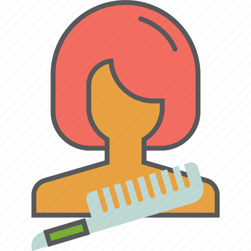 cutting, girl, hair, makeup, salon, scissors, woman icon