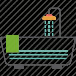 bath tub, bathroom, shower, towel, tub, water icon
